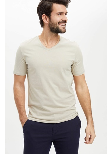 DeFacto Basic Slim Fit T-Shirt Bej